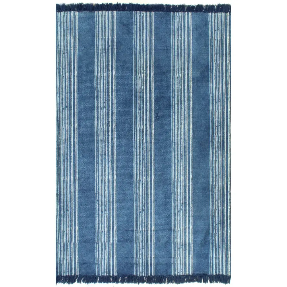 EHOMEBUY tapis tapis Kilim moderne coton 120x180 cm avec motif bande bleue Simple tapis antidérapant tapis de zone chambre tapis de cuisine