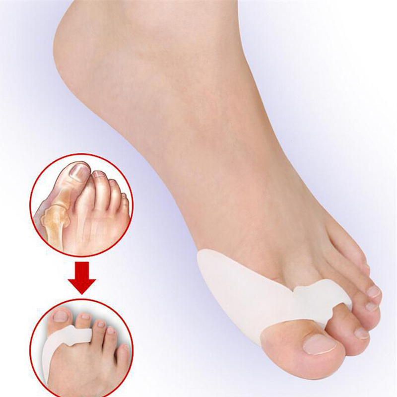 2psc Toe Separator Silicone Bicyclic Thumb Orthopedic Braces Correct Straightener Spreader Finger Pedicure Foot Care Tool L3