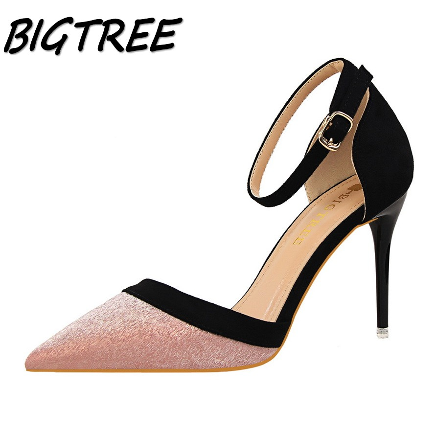 BIGTREE summer women Pointed Toe High heel shoes woman Mixed color pumps ladies Fashion Buckle Strap thin heels stilettos shoes women pumps flock high heels shoes woman fashion 2017 summer leather casual shoes ladies pointed toe buckle strap high quality