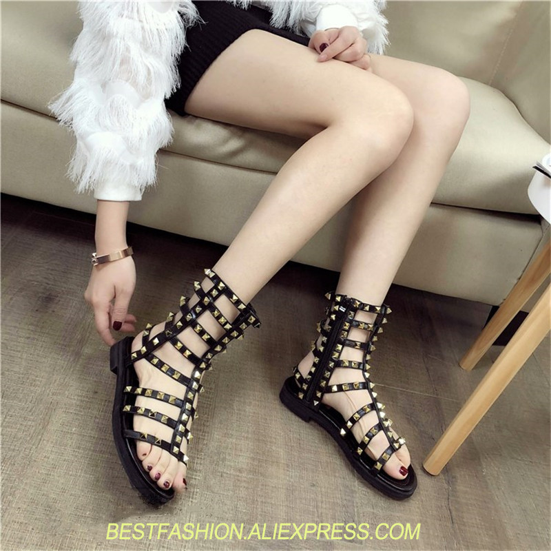Luxury Design Rock Stud Rivet Gladiator Sandals Women Open Toe Flat Shoes Woman Fashion Sandals Buckle Punk Sexy Women Shoes mvvjke summer women shoes woman genuine leather flat sandals casual open toe sandals women sandals