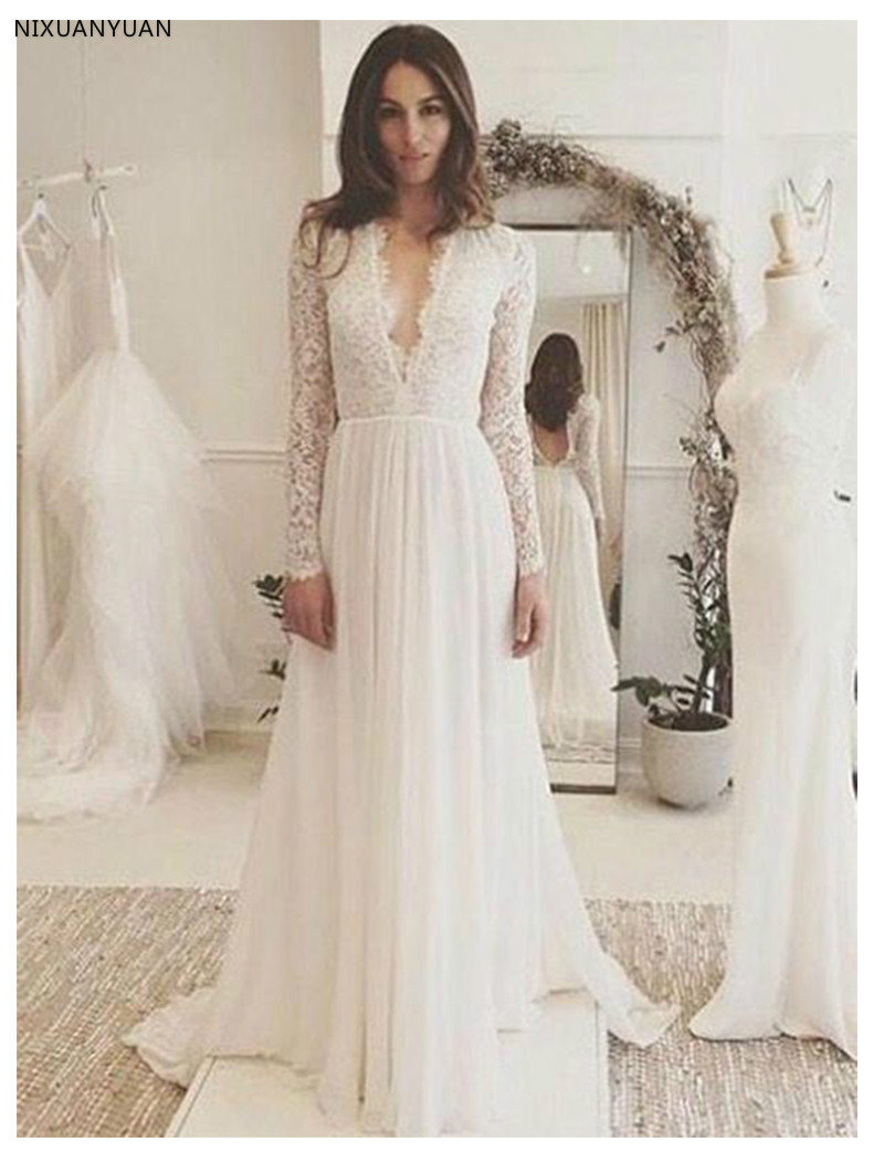 Long Sleeves Wedding Dress White Ivory Lace Top A-line Sexy Romantic Sexy Deep V Neck Bridal Gown