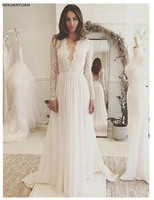Long Sleeves Wedding Dress White Ivory Lace Top A line Sexy Romantic Sexy Deep V Neck Bridal Gown