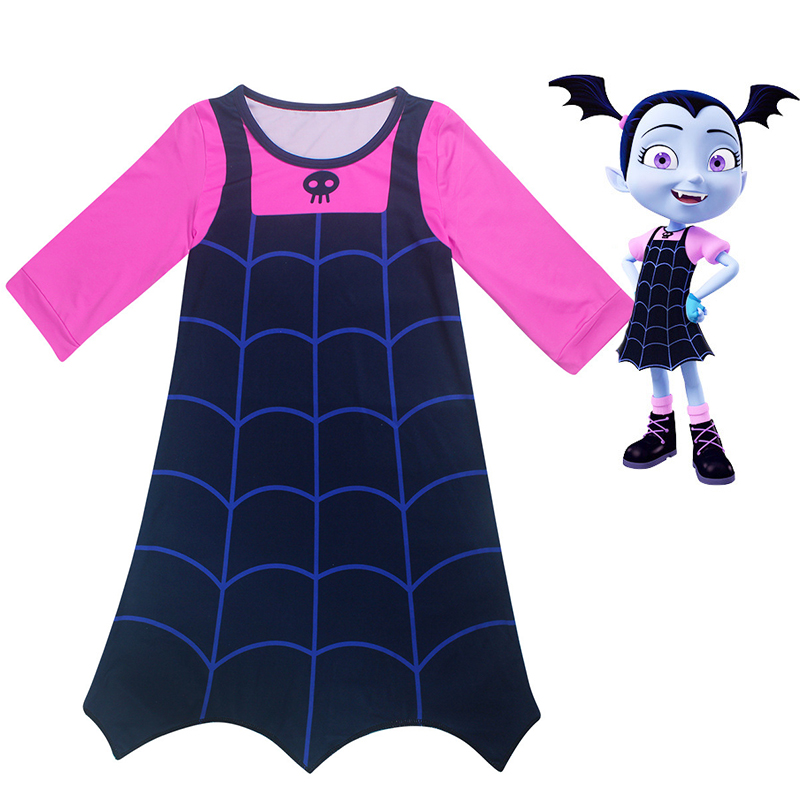 New Wearing a wig Summer Trolls Dress Christmas Costumes For Girls Lace Mesh Clothing Children Vampirina necklace Dress 10 Years