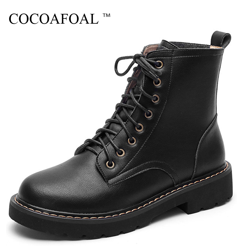 купить COCOAFOAL Women's Genuine Leather Martin Boots Woman Ankle Boots Lace Up Autumn Winter White Woman Genuine Leather Chelsea Boots недорого