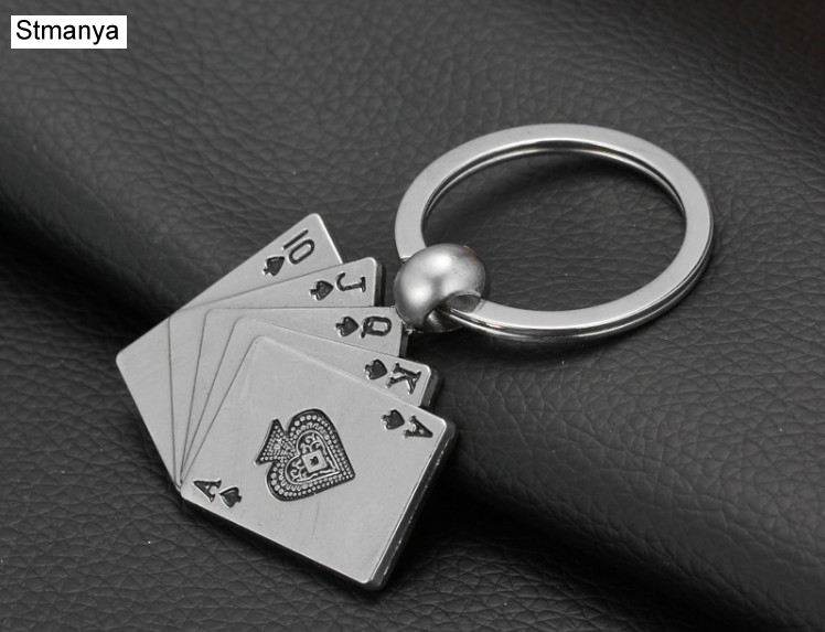 New Design Cool Luxury Metal Keychain Car Key Chain Key Ring Poker Casino Chain Color Pendant For Man Women Gift Wholesale 17055