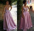 Sexy See Through Prom Dresses 2017 Amazing Appliqued Satin Formal Evening Gowns Back Covered with Buttons 2017