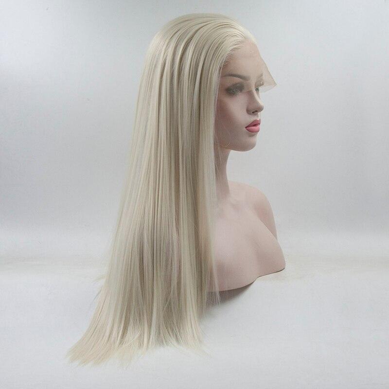 Marquesha Naturel de La Recherche À Moitié Main Attachée Droite Résistant À La Chaleur Fiber De Platinum Blonde Synthétique Avant de Lacet Perruque Pour Les Femmes