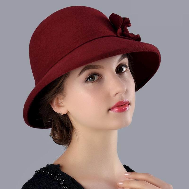 a7ff7edc43e 100% Australian Wool Fedora Hat Flower Noble Bowler Hats For Women Wide Brim  Formal Church Cloche Hat Black M9717