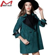 2017 Women Suede Leather Coats Female Autumn Fashion Trench coats font b Ladies b font Overcoat