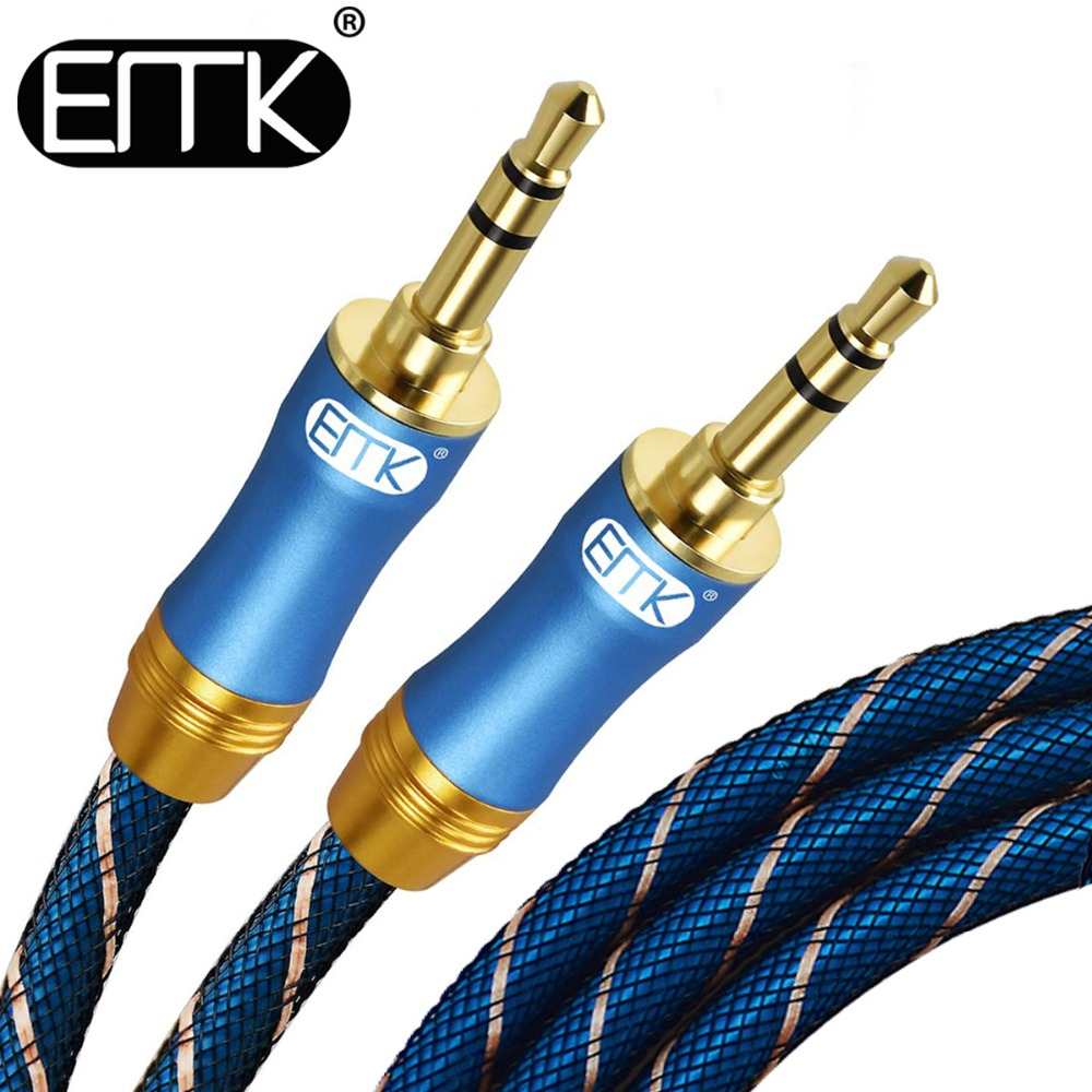 EMK 3.5mm Jack Audio Cable Gold Plated Jack 3.5 Male to Male Audio Aux Cable 2m 3m 5m For iPhone Car Headphone computer Speaker цена