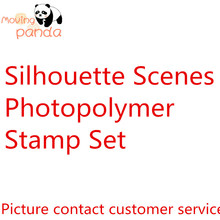 JC199 2019 Silhouette Scenes Clear Stamp and Dies for Scrapbooking Card Album Making Metal Cutting Stamps Sets