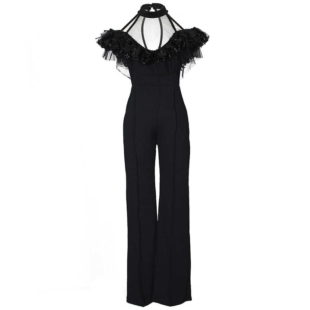 16ffa4325d6 ... Wide Leg Jumpsuits Halter Off Shoulder Elegant Lace Ruffles Jumpsuit  Backless Hollow Out Sexy Rompers Womens ...