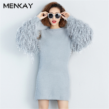[MENKAY] 2018 Spring New Fashion Stitching Knitted Full Lantern Sleeves Gray Color Round Collar Mini Dresses Women Casual Ladies