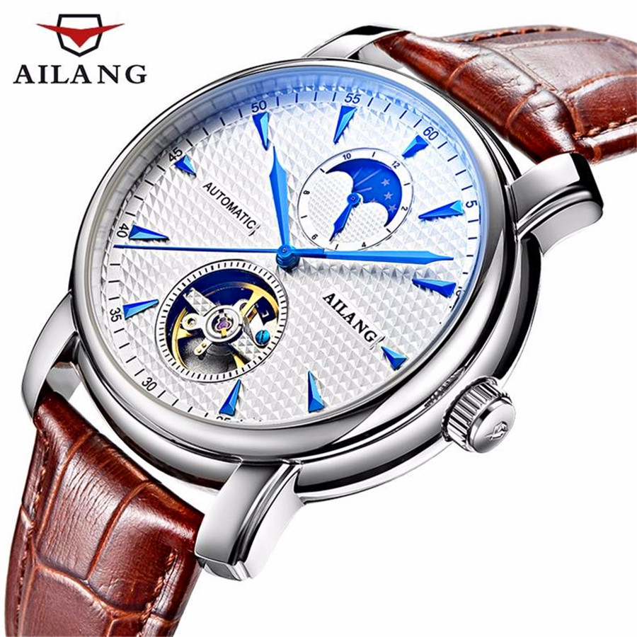 relogio masculino AILANG Mens Watches Top Brand Luxury Tourbillon Automatic Machinery Watch Men Skeleton Leather Wristwatch все цены