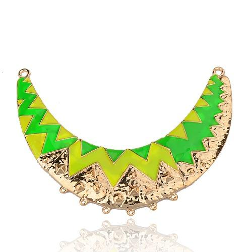 Crescent Alloy Enamel Chandelier Components Links, 2/6 Loops, Golden Metal Color, Lime Green, 109x36x3mm, Hole: 1~3mm