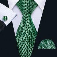 Barry.Wang Designer Green Dot Wedding Tie Set 100% Silk Fashion Neck Ties For Men Gift Wedding Groom Business Party FA-5116