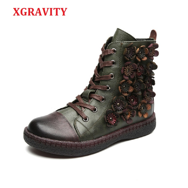 XGRAVITY Winter Short Boots Flower British Stylish Woman Ankle Boots Genuine Leather Lady Martin Snow Shoes
