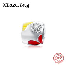 hot deal buy 925 sterling silver red & yellow flower cz stone beads fit original european bracelet beads diy jewelry making for women gifts