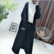 2018 Korean new style pure colour kintted long cardigan coat