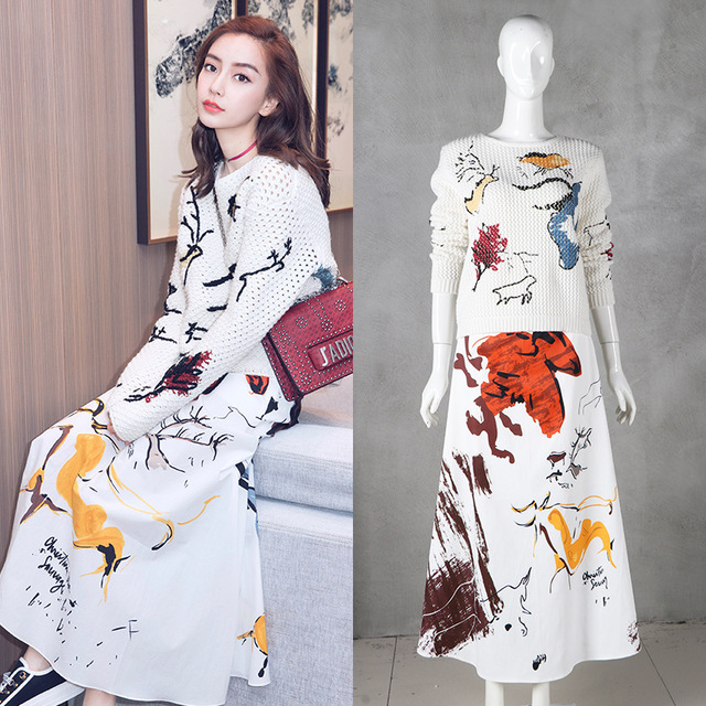 Wholesale & Retail 2018   Fashion Fawn Pattern Hollow Knit Top and Skirt Women's Set Free Shipping