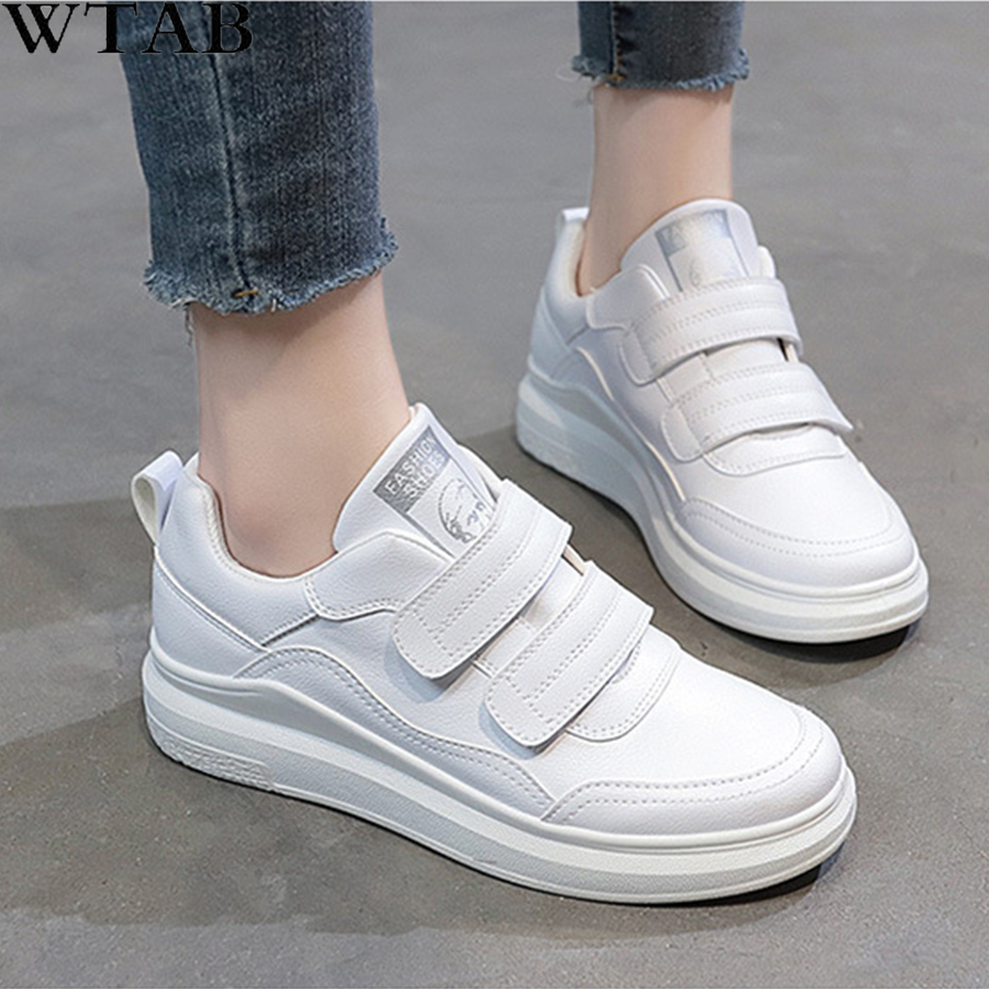 WTB 2019 Spring Designer Wedges White Hool&Loop Platform Sneakers Women