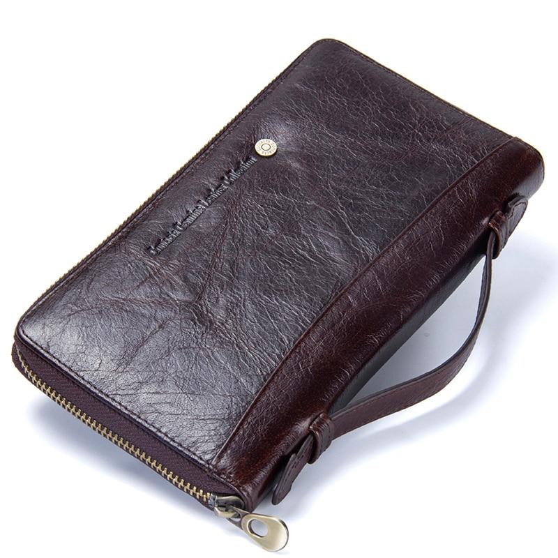 Genuine Leather Men Clutch Wallet  Brand Male Card Holder Long  Zipper Around Travel Purse With Passport Holder 6.5 1