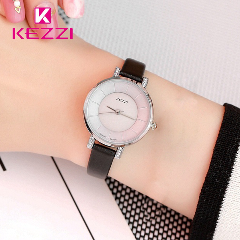 KEZZI Fashion Leather Woman Watches Waterproof Quartz Wristwatches Female Casual Sport Student Watch Relogio Feminino цена