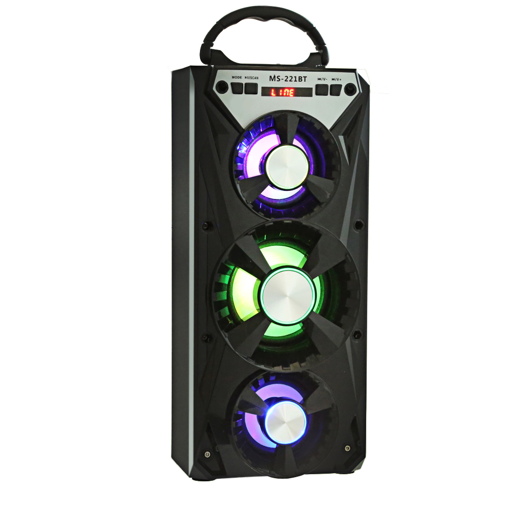 MS-221BT Wireless Bluetooth Speaker 4-Inch HiFi Stereo Bass Loudspeaker With LED Lights Support AUX TF/Micro SD Card Songs Track