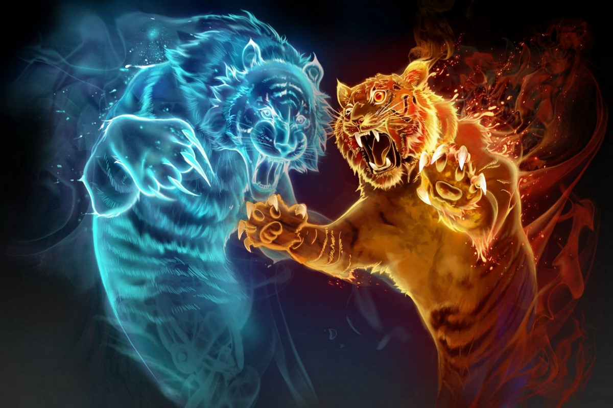 Canvas Poster art game spirits magic tiger water fire ...
