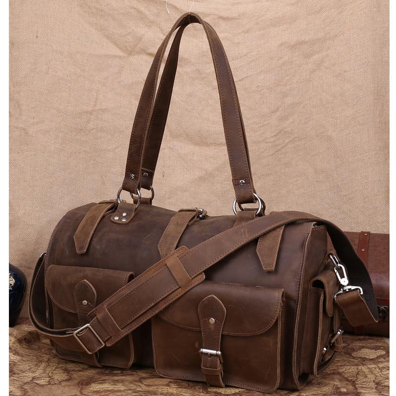 TIDING Wild Style Travel duffle bag vintage leather large capacity tote for men messenger shoulder bag 10604