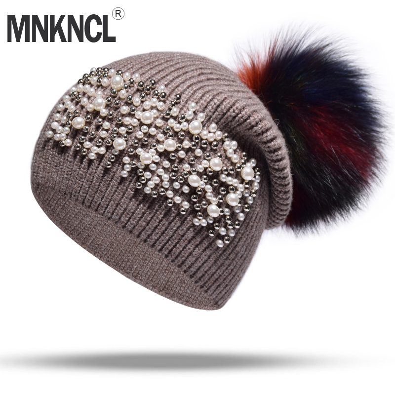 MNKNCL Wool Winter Hat For Women Fashion Pearl Knitted Hat With Real Mink Pompom Warm Hat Female   Skullies     Beanies   Bonnet