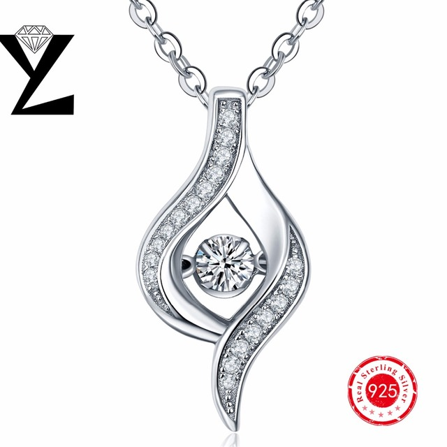 Necklace Fashion silver sterling 925 necklace sterling-silver-jewelry YL brand drop pendant dancing simulated diamond gift