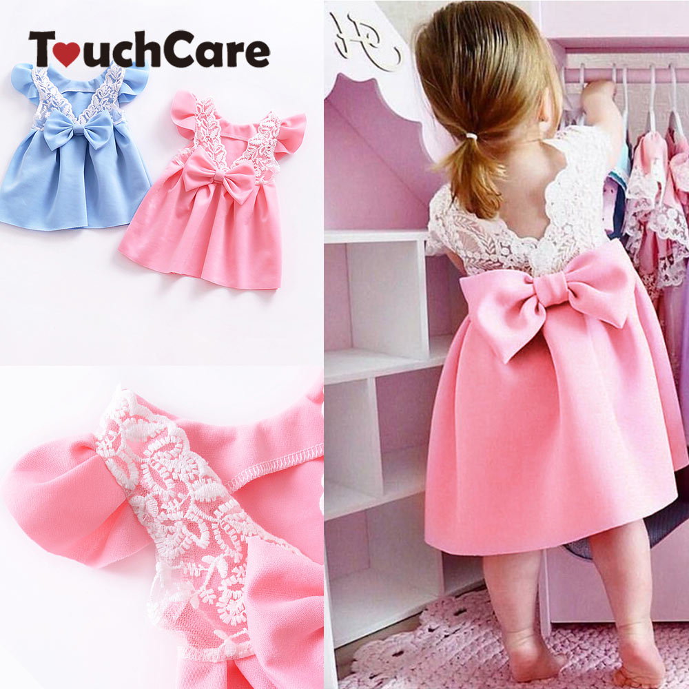 Toddler Infant Kid Baby Girl Backless Lace Bow Princess Dresses Wedding Evening Party Elsa Dresses Cute Children Summer Sundress