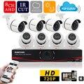 Sunchan inicio HD 1200TVL 8CH CCTV cámara de seguridad del sistema 8CH DVR 1.0 megapixel 720 P exterior día noche DIY Kit Video vigilancia sistema de camaras de seguridad kit camaras seguridad home