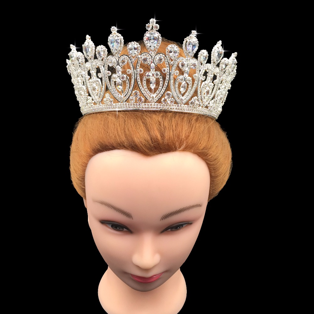 Crown Hadiyana Sparkling Crystal Heart Bridal Crown Hair Ornaments For Women New Tiaras Big Wedding Hair Jewelry Crowns BC3676-in Hair Jewelry from Jewelry & Accessories    2