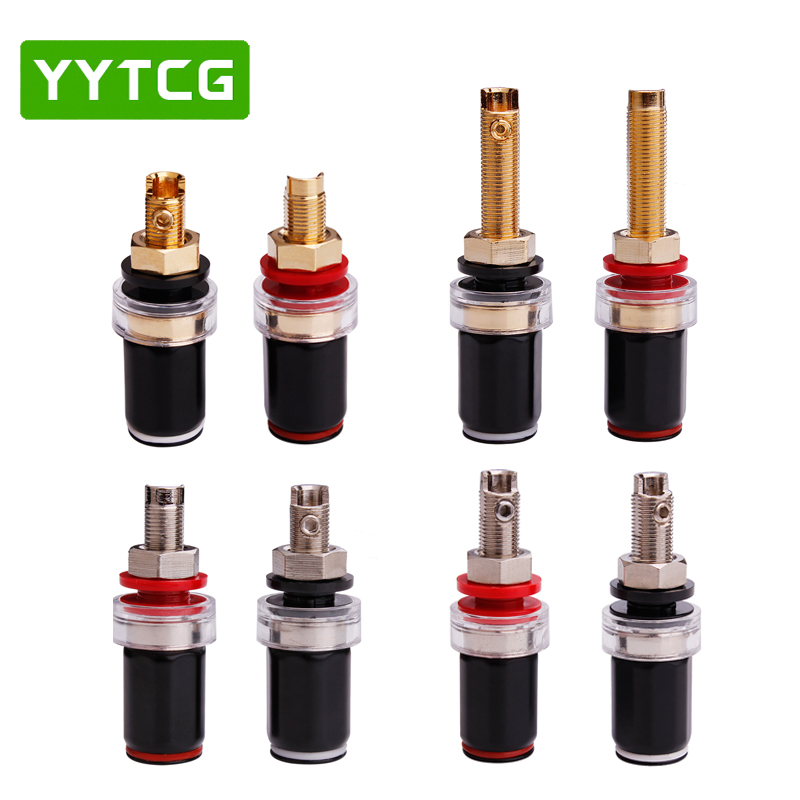 YYTCG 4pcs Black  amp Red Free Welding Copper Speaker Amplifier Terminal for 4mm Banana Plug