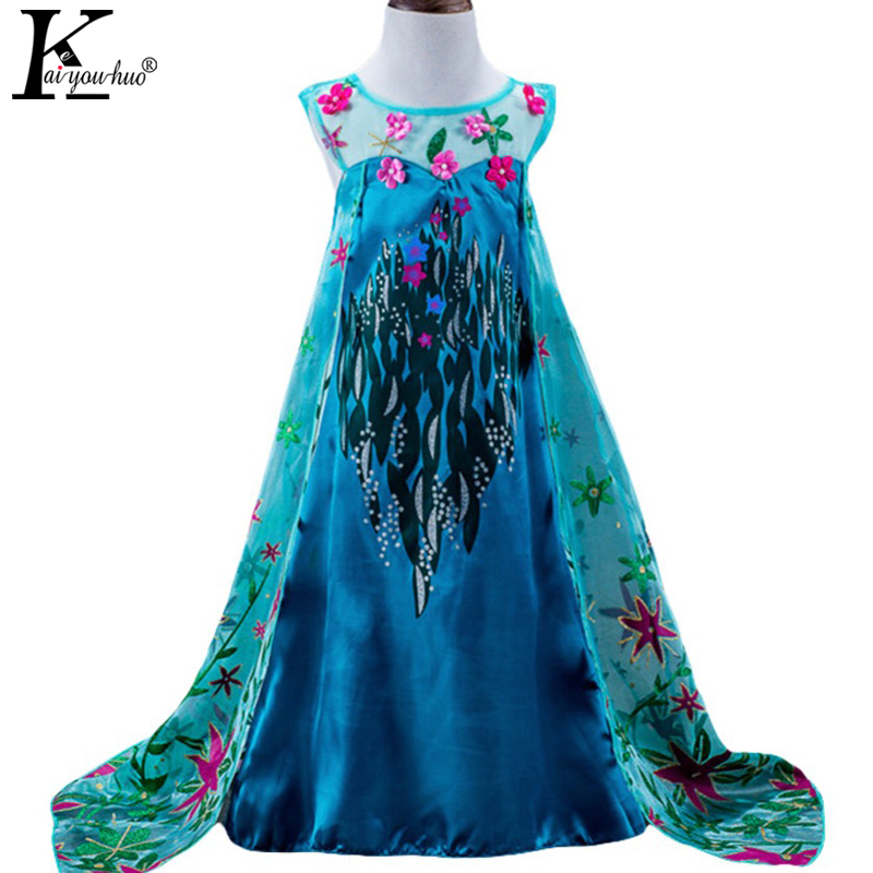 Girls Dress High Quality 2017 Summer Princess Dresses For Girls Children Clothing Anna Elsa Party Dress Costume For Kids Clothes high quality vestidos children clothing new girls red wedding dress summer party dresses for kids costume flower chiffon clothes