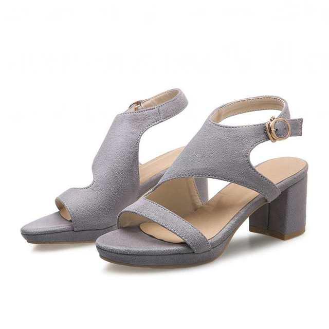 Das mulheres à moda do dedo do pé aberto saltos robustos fivela 2016 moda menos sandálias plataforma sólida 3 cores partido feminino sapatos tamanho grande 34-43