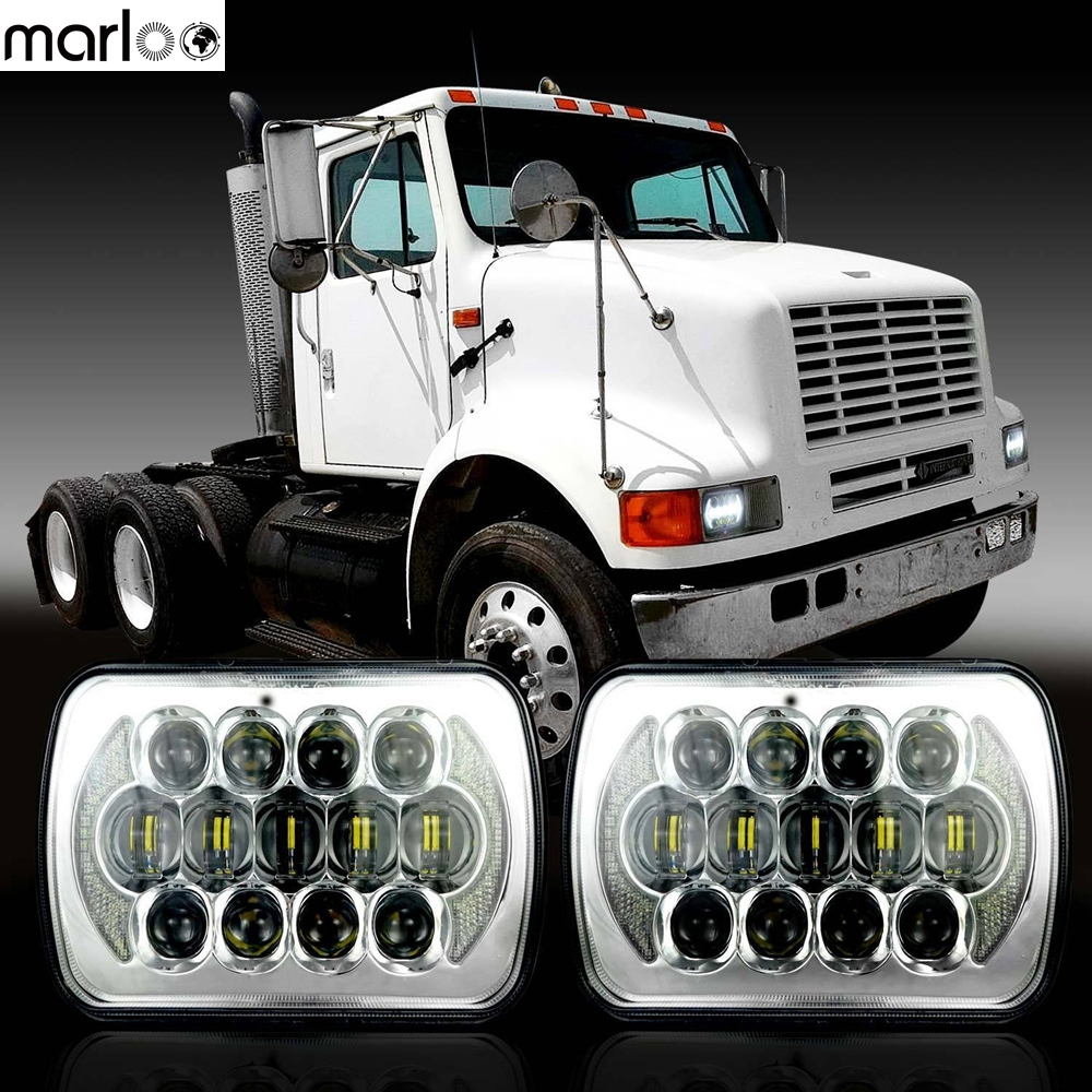 Marloo 2X International IHC Harvester 4700 9400 9900 9200 8100 LED Headlight Assembly 5X7 Inch For Jeep Toyota 6X7 Headlight