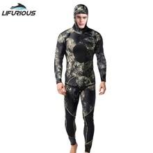 LIFURIOUS ネオプレン 3 ミリメートルの水泳ウェットスーツ男性のダイビングスーツ分割スキューバダイビングシュノーケル水着スピアフィッシングサーフィンジャンプスーツ機器