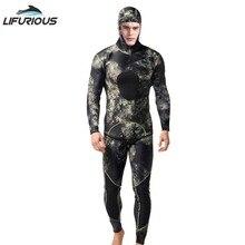 Traje de neopreno LIFURIOUS de 3mm, traje de neopreno para nadar, traje de buceo de dos prendas, traje de Snorkel para pesca submarina, equipo de mono de surf