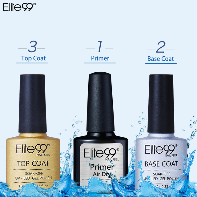 Elite99 10ML 3 teile/los UV Gel Nagellack Primer Top mantel Basis mantel Lacke Langlebige Soak off UV gel Nail art Maniküre