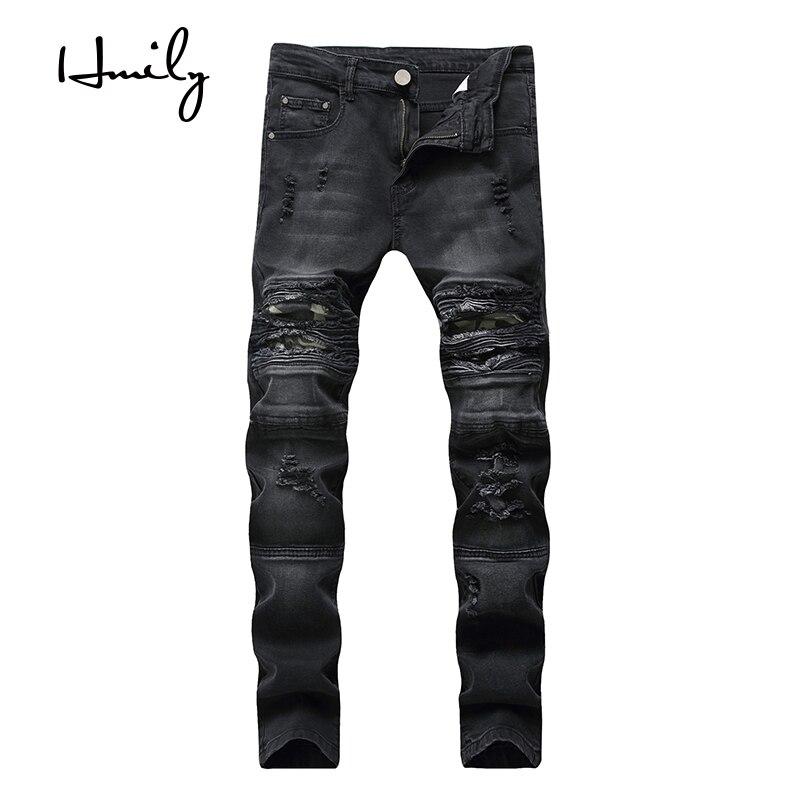 HMILY/Дизайнерские облегающие рваные джинсы для мужчин, мужские джинсы с потертостями, черные рваные джинсы для бега