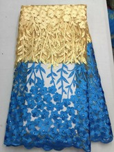 Schöne abendkleid material Französisch tüll stoff mit bunten stein, Afrikanische tüll mesh spitze in orange 5 yards/pc NX855-2