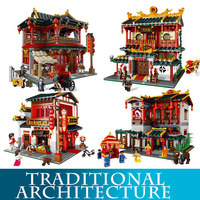 Xingbao 01001 01004 2000pcs+ Chinese Traditional Architecture Model Building Blocks Martial Arts LegoINGLYs Bricks Toys