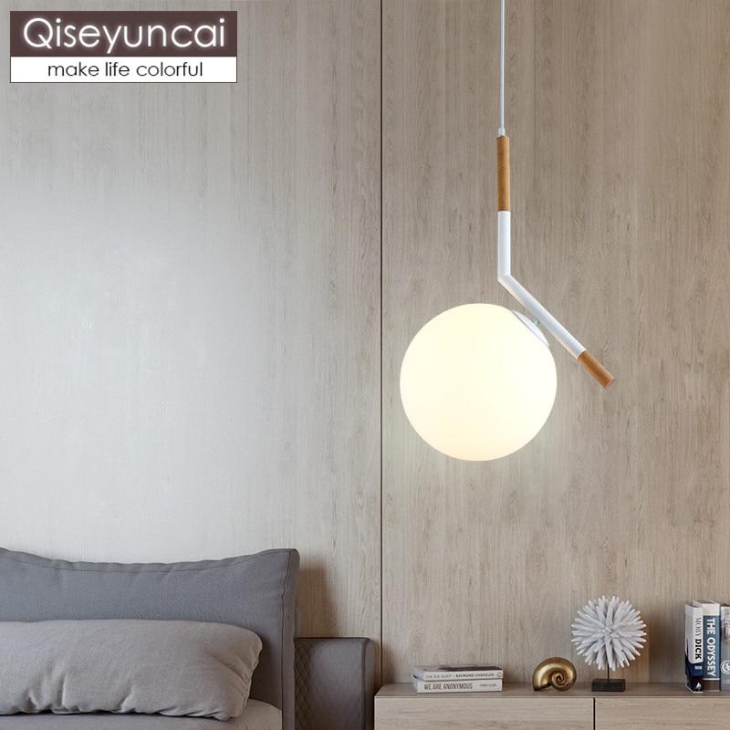 Qiseyuncai Nordic modern minimalist restaurant chandelier creative single head glass ball bar corridor wood lighting