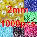 Grande promoção! 1000 pcs 2 mm Multi AB cores natator pérola ABS resina contas imitação de pérolas metade redondas para Nail Art Y3603