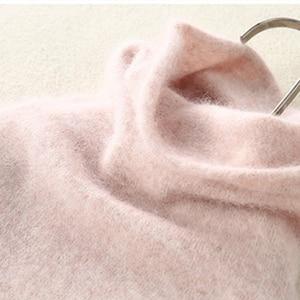 Image 1 - סתיו חורף נשים גולף סוודרים 100% טהור מינק קשמיר סוודרים סרוג רך חם ילדה בגדי S 2XL 13 צבעים מגשרים
