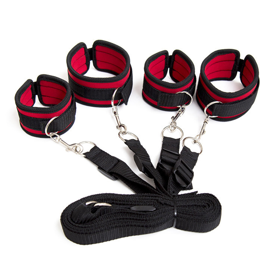 Soft Plush Under The Bed Restraint System Kit Handcuffs Ankle Cuffs With Nylon Long Belts Bondage Sex Toys