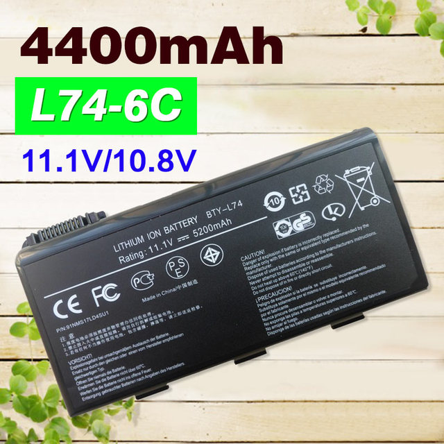 4400mAh 11.1V laptop battery For MSI BTY-L74 BTY-L75 91NMS17LD4SU1 91NMS17LF6SU1 A5000 A6000 A6200 A6205 CR500X CR610 CR700